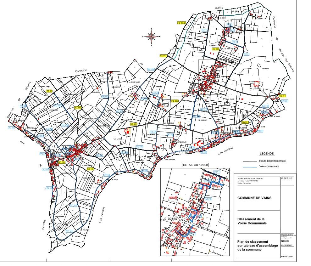 Plan des rues de vains
